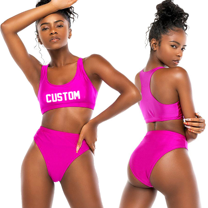 Sexy Custom Text Bikini Push Up Women Two-Pieces Swimsuit High Waist Swimwear For Female trikini mujer 2020 DropShipping mayo