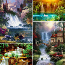 Diamond Painting Waterfall Mosaic-Art-Picture Embroidery Square Rhinestones Home-Decoration
