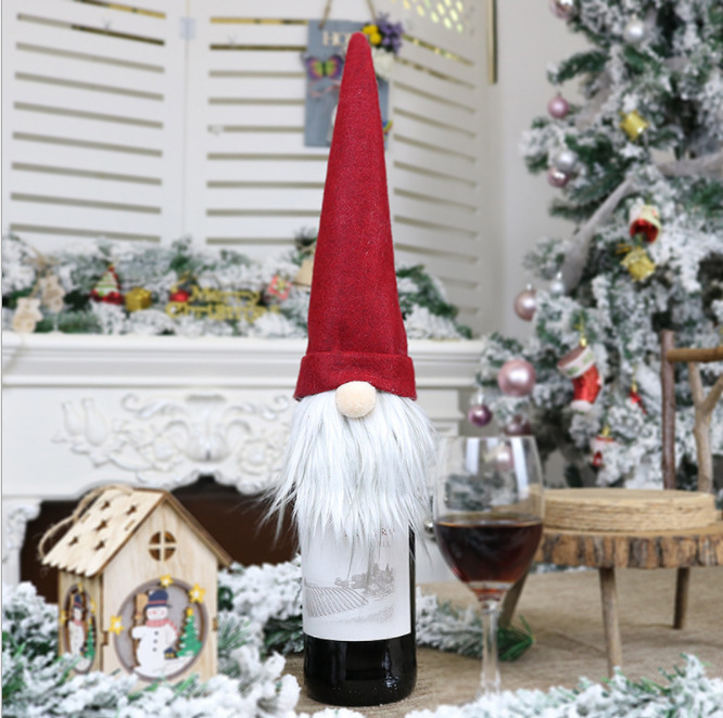 Christmas Gnome Champagne Wine Bottles Cover Sleeve Dining Party Bag Hat