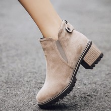 women ankle boots mid med heels slip on pumps shoes woman round toe  autumn warm booties wxz127 стоимость