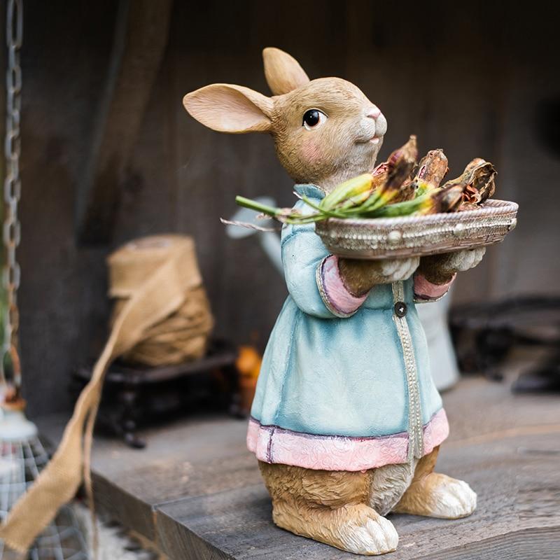 Hand Holding Tray Of Alice Rabbit Servant Desktop Decoration Ornaments Garden Courtyard European Fairy Tale Statue Crafts Gifts