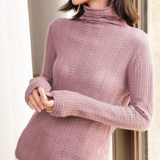 100% Cashmere เสื้อกันหนาวถักผู้หญิงคุณภาพสูงคอเต่า 4 สีสุภาพสตรี Pullovers ฤดูหนาวใหม่แฟชั่นเสื้อผ้า