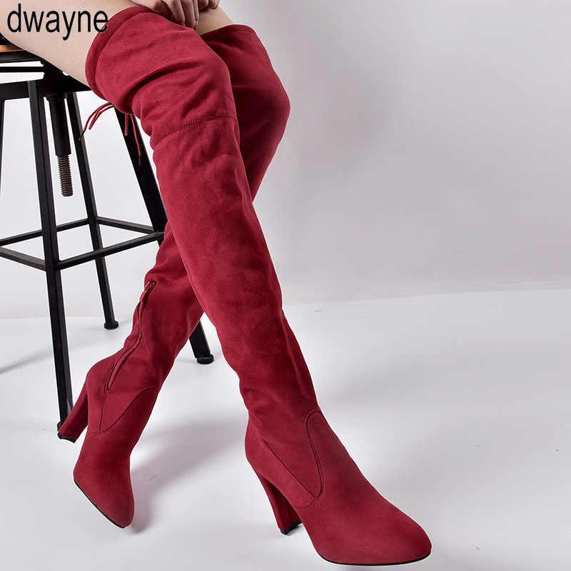 Cỡ Giày Mới Giày Bốt Nữ Đen Trên Đầu Gối Giày Gợi Cảm Nữ Thu Đông Nữ Đùi Giày Cao 2019 mới