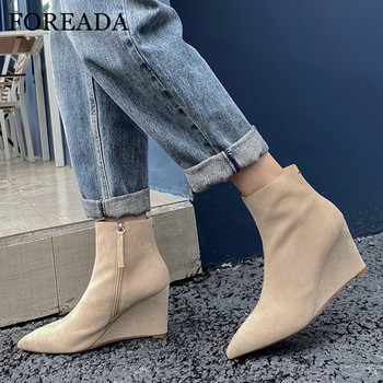 FOREADA Real Leather Woman Boots High Heel Ankle Boots  Zipper Wedges Heel Shoes Pointed Toe Female Short Boots Autumn Winter 40 black ankle boots for women chunky boots high heel autumn winter pointed toe booties woman fashion zipper black boots 2019