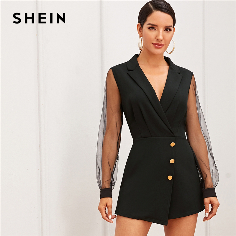 SHEIN Black Notch Collar Mesh Sleeve Button Wrap Trim Skirt Romper Women Autumn High Waist Solid Party Elegant Playsuit Rompers