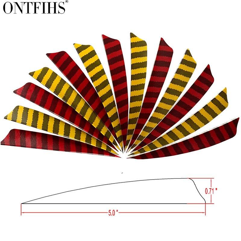50 pcs ontfihs 5 escudo corte tiro com arco de caca listrado seta penas turquia pena