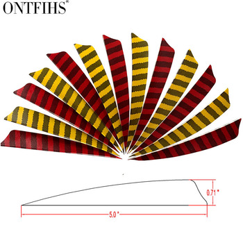 50pcs ONTFIHS 5 Shield Cut  Archery Hunting Striped Arrow Feathers Turkey Feather Accessories Fletching FT49