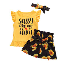 2020 Lovely Baby Girls Clothes Set Ruffles Sleeve T Shirts Tops+Floral Shorts Pants Headband Toddler Girl Clothing Kids Sets jxysy toddler kid baby girls clothing set ruffles floral top pleated pants spring autumn girls clothes children costumes