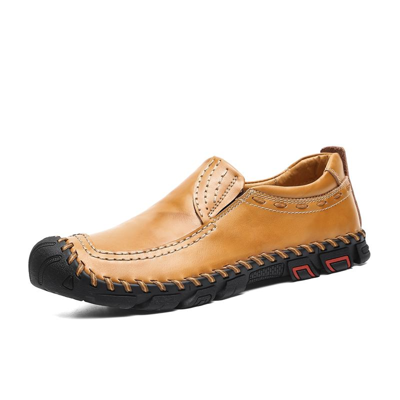 Leather Casual Shoes Men Handmade Vintage Shoes Flats Lace-up Homme Big Size 38-46