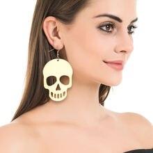 Женские серьги в виде черепа стиле панк рок