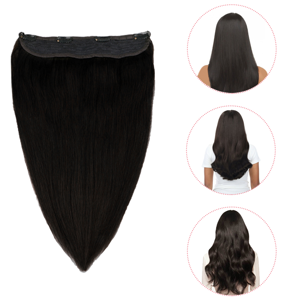 Halo Brazilian Machine Remy Invisible Flip In Human Hair Extensions Fish Wire Straight Human Hair Extensions Sindra 16