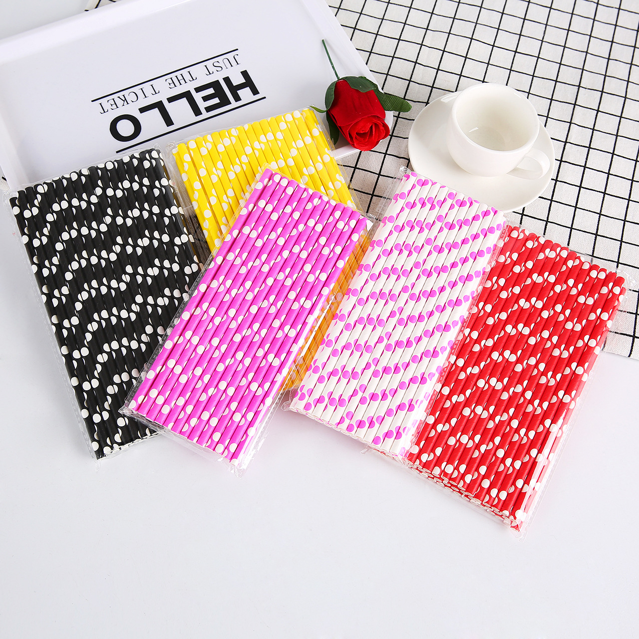 Currently Available Supply Color Polka Dot Straw Polka Dot Party Paper Sucker Disposable Degradable Kraftpaper Straw