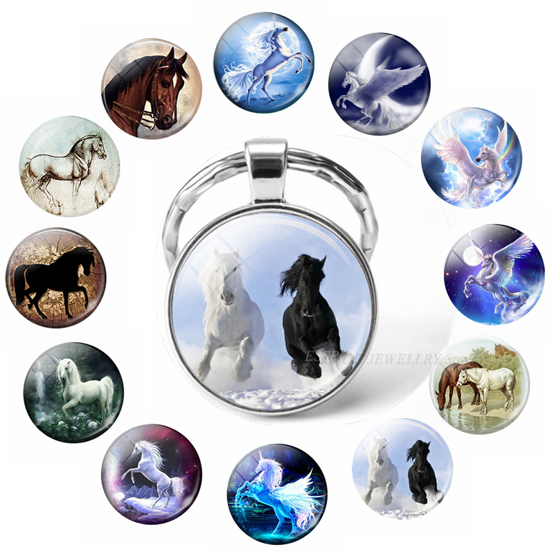 2019 Hot Horse Keychain Art Photo Glass Cabochon Jewelry Key Chain Car Key Ring Animal Pendant Handmade Gifts Dropshipping