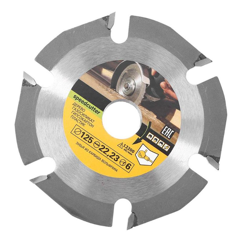 Durable 6 Teeth Saw Blade 125mm Cemented Carbide Tipped Wood Cutting Disc Angle Grinder Wheel Woodworking Accessories