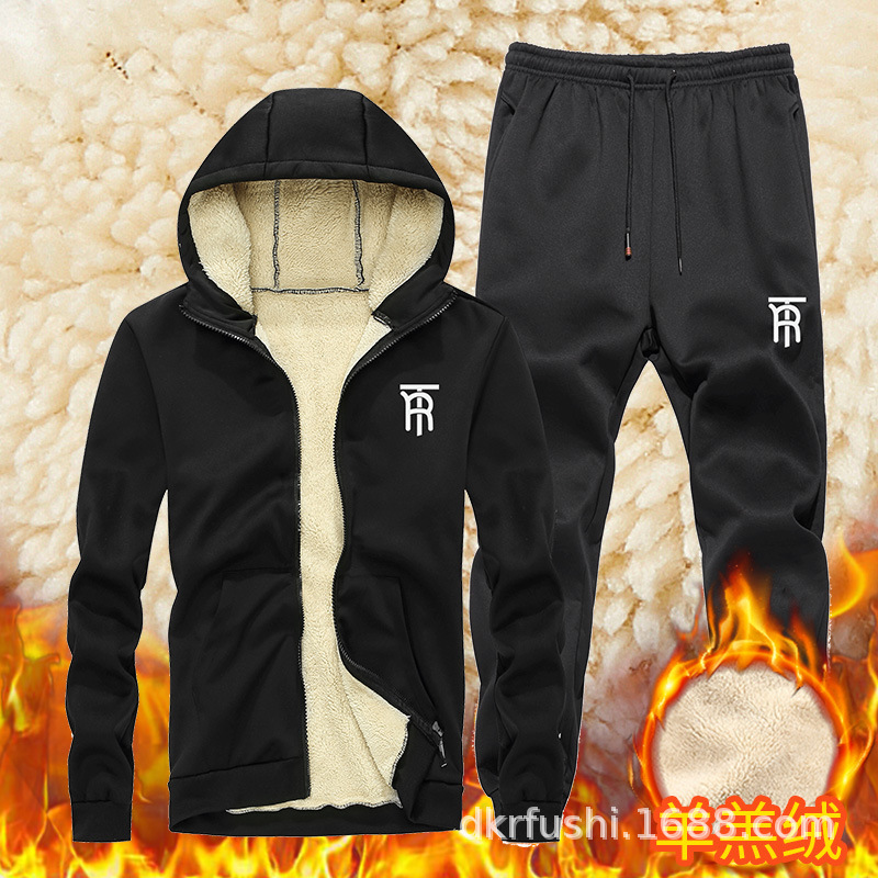 Winter New Style Men Leisure Set Berber Fleece Hoodie Coat Fleece-Lined Set Warm Sports Set Men's