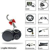 LingBei Mid Motor 36V 250W 350W Light Function C600 C800 LCD Display Brake Sensor Electric Bicycle Mid Drive Motor Kit