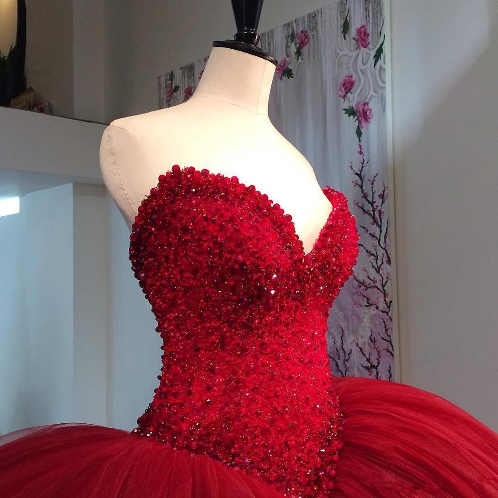 Red Sweetheart Ball Gown Prom Dresses Top Beaded Tulle Multi Layers Evening Dress Custom Made Puffy Formal gown Women Vestidos