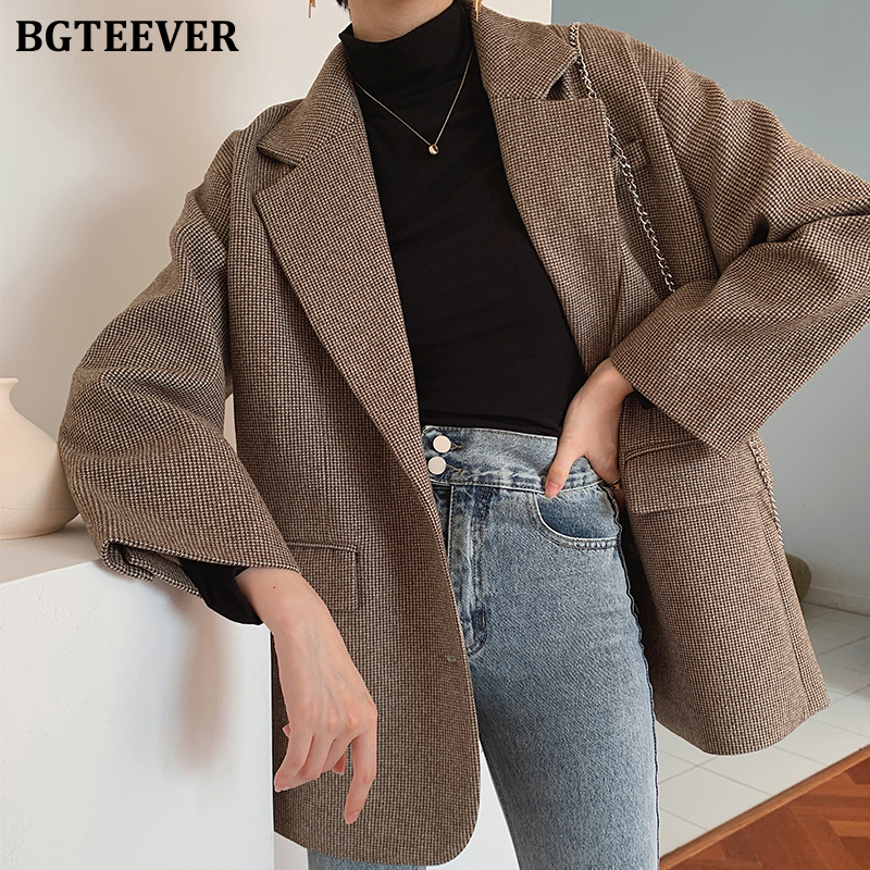 BGTEEVER 2019 Winter Thicken Warm Single-breasted Houndstooth  Female Suit Coat Notch Collar Pocket Woolen Jacket Women Blazer