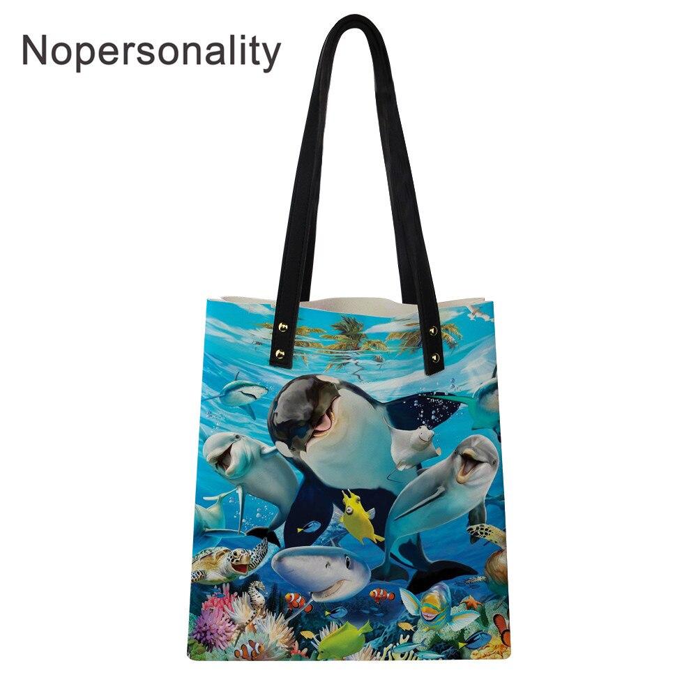 PU Leather Shoulder Bag,Dolphin Blue Ocean Backpack,Portable Travel School Rucksack,Satchel with Top Handle