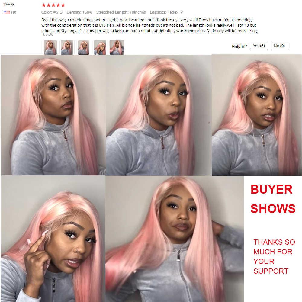 613 blond proste włosy 360 koronka Frontal włosów ludzkich peruk brazylijski przezroczyste peruki typu Lace front dla kobiet z dzieckiem włosy Remy włosy