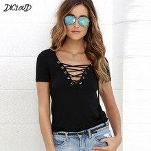 DICLOUD – T-Shirt à manches courtes et col en v pour femme, hauts en dentelle, noir, ajouré, à la mode, été