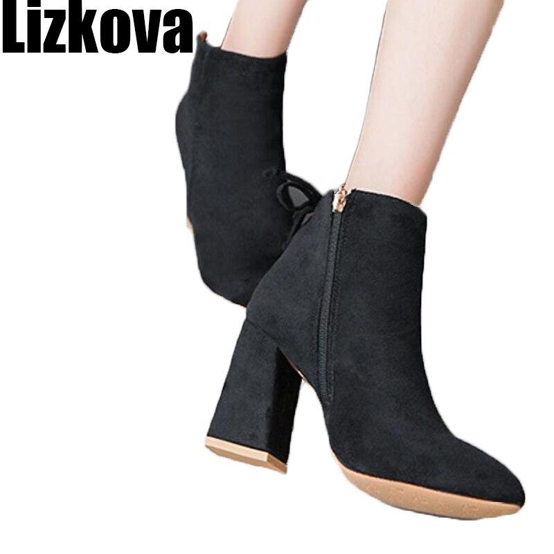 019 Autumn Winter Women Faux Suede Leather Boots Zipper Short Boots Black Khaki Color Shoes