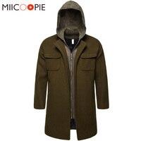 Fake Two Pieces Winter Jacket Men Hooded Long Coats Korean New Zipper Pocket Design Army Trench Coat Men Steampunk Windbreaker