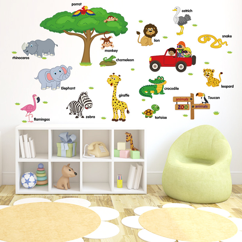 SK9084 Cartoon Zoo Learn English With Wall Stickers CHILDREN'S Room Kindergarten Adhesive Paper Wall Stickers Wholesale