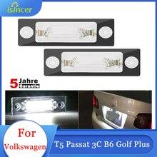 2Pcs Number License Plate Light Lamp For VW T5 Passat 3C B6 Caddy Touran Golf Plus Skoda LED Car Light 12V 6500k White