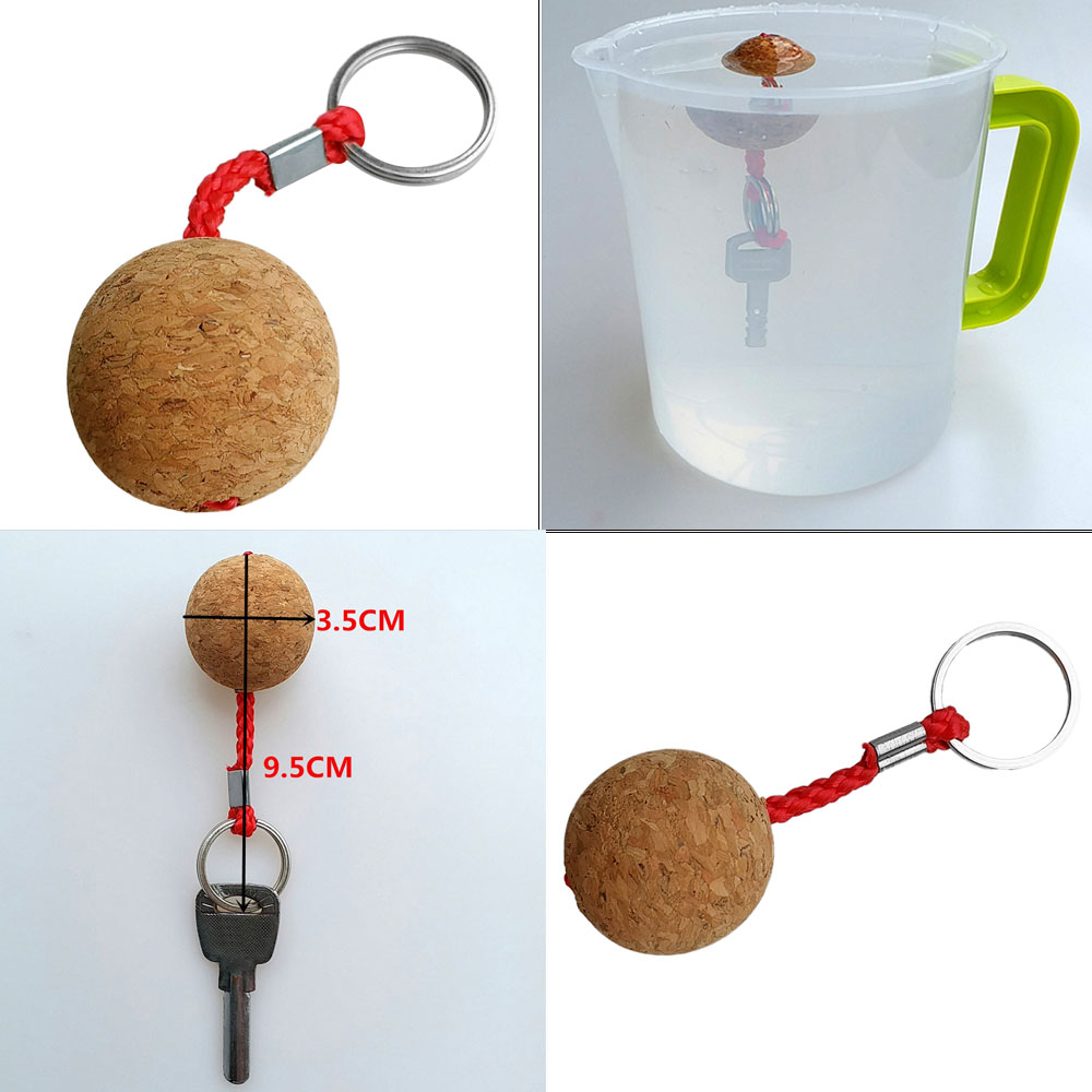 3.5cm Single Ball Cork Keyring Buoyant Key Ring Marine Sailing Boat Float