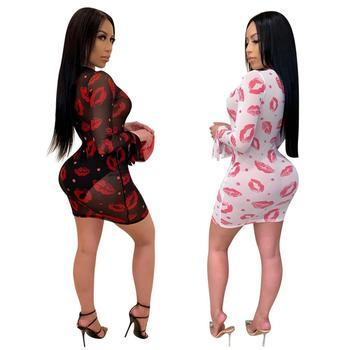 Adogirl 2020 New Summer Women Sheer Mesh Red Lips Print Sexy Club Dress Long Sleeve Round Neck See Through Short Bodycon Dress 10