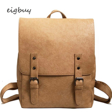 Teenagers Girls Leisure Backpacks Female Travel Rucksack Large Capacity Women Backpack Vintage Pu Leather School Bags For