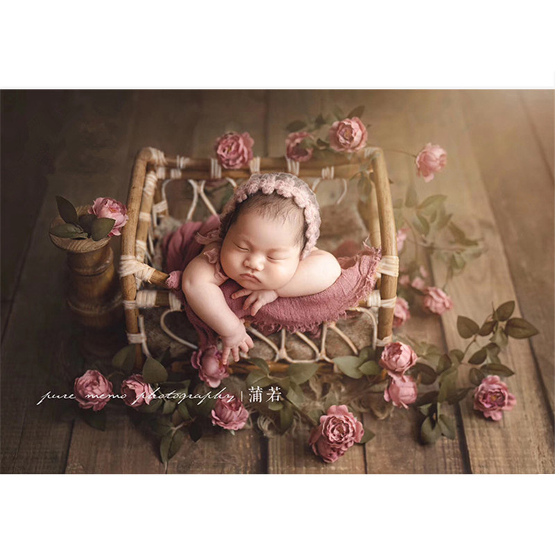 Fotografie Baby Props Vintage Woven Rattan Basket Newborn Photography Props Basket Baby Posing Sofa Bed Accessoire Bebe Photo