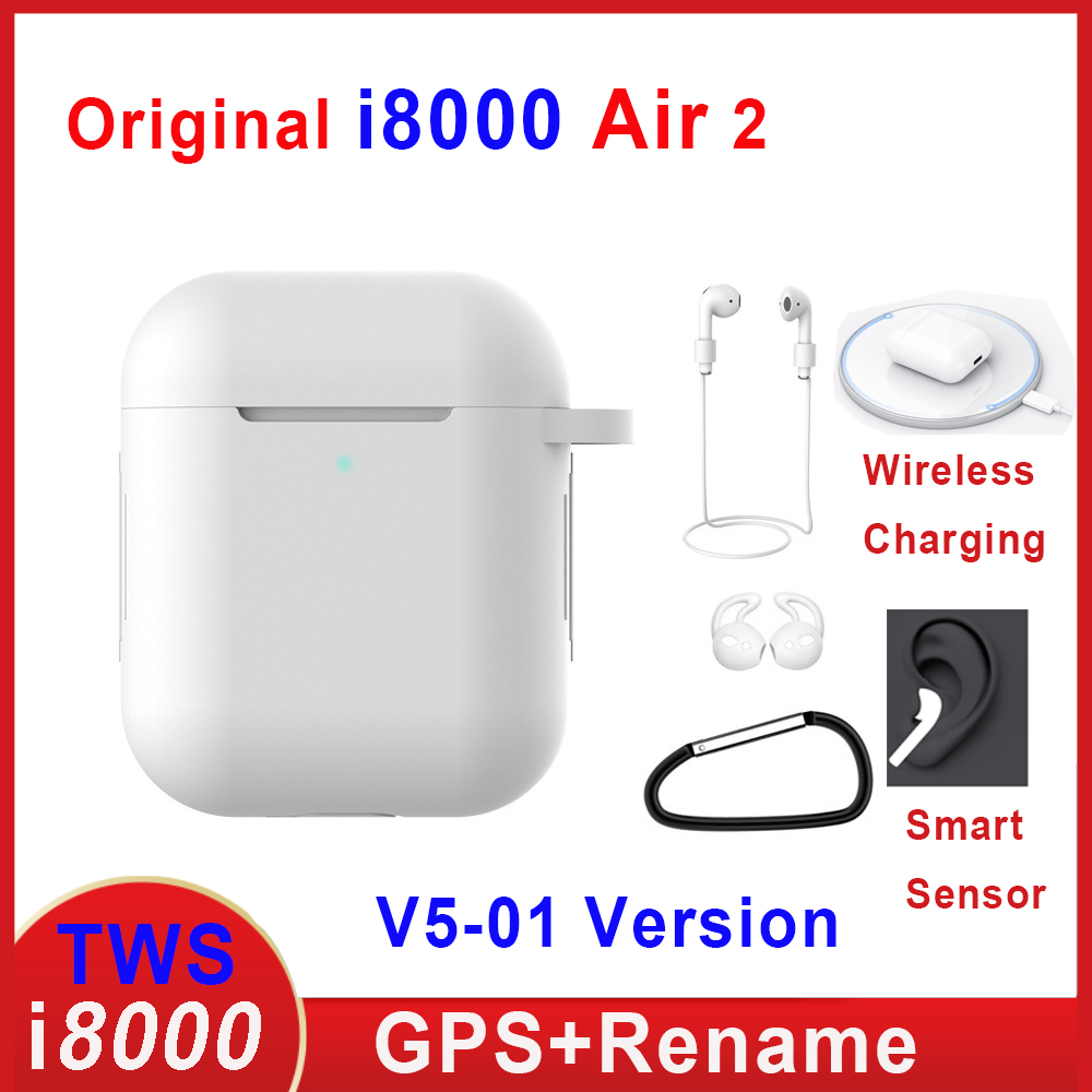 Original I8000 Air 2 Tws Earphone Rename Volume Control Wireless Bluetooth Earphones Smart Sensor PK I5000 I9000 I90000 TWS