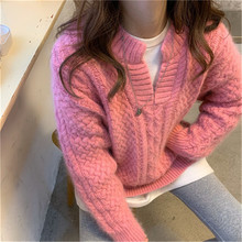 2021 Ladies Elegant and Sweet Outing Streetwear Winter Fashion Pullover V-neck Retro Chic All-match Solid Color Sweater