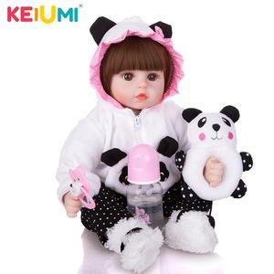 Image 4 - Venda por atacado 18 keimenmensilicone recém nascido menina reborn bebê boneca bonito panda dos desenhos animados bebê presentes do dia das crianças com 3 pcs grampo de cabelo