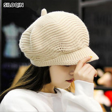 SILOQIN  Trend Autumn Winter Womans Keep Warm Knit Berets Fashion Wild Rabbit Hair Leisure Motion Lady Brands Hat Gorras