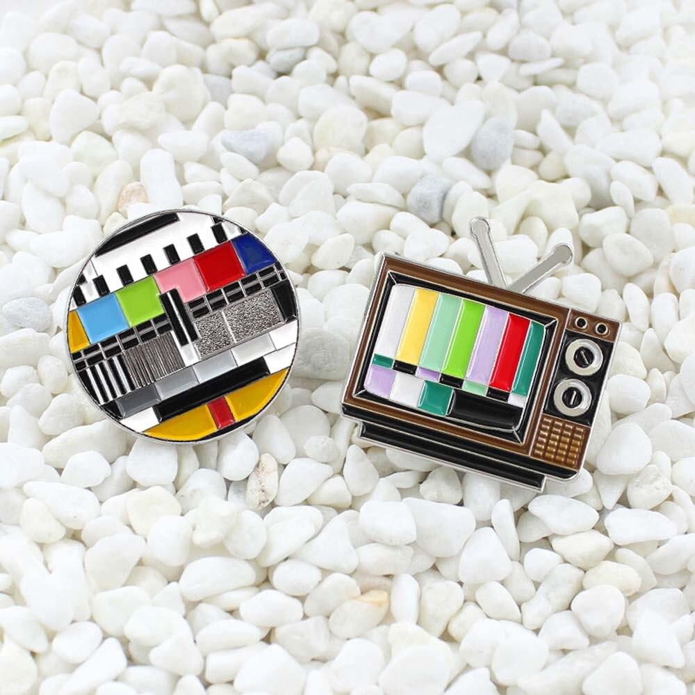 Трендовая Брошь Личность ювелирные изделия Ретро ТВ канал Снежинка экран без знака цветная значок броши