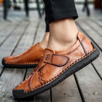 Genuine Leather Men Casual Shoes Fashion Male Loafers Handmade Driving Shoes Men Moccasins Casual Loafers Male Large Size HC-462