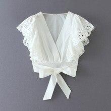 Nuovo 2020 donne croce scollo a v orlo elastico papillon casual kimono camicetta camicetta lady scava fuori increspature camicia chic blusas top LS6630