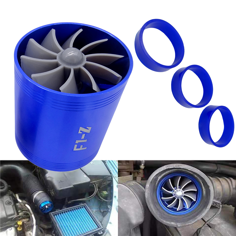 Car Double Dual Turbo Air Intake Turbine Gas Fuel Saver Fan Turbo Supercharger Turbine Fit For Air Intake Hose Diameter 65-74mm