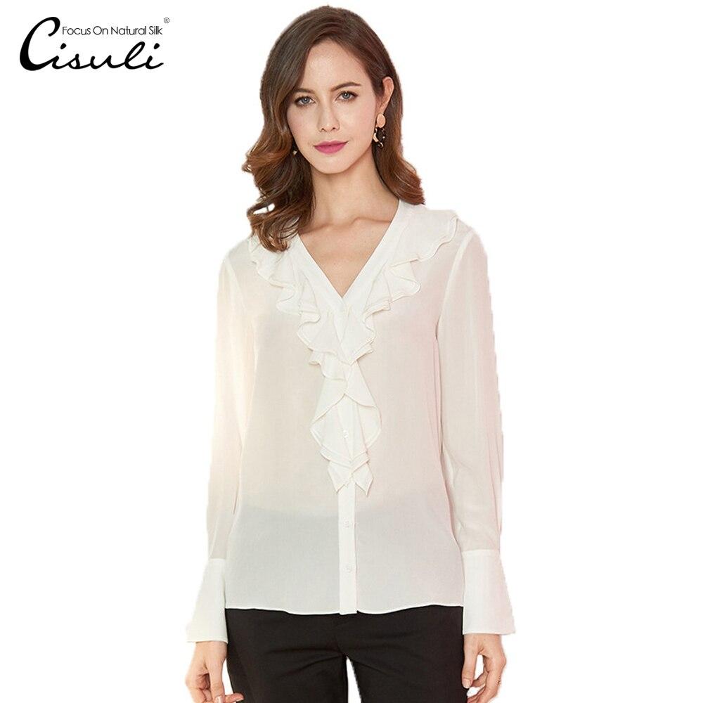Женская блузка из 100% шелка CISULI, белая/черная блузка с длинными рукавами и оборками, 2019