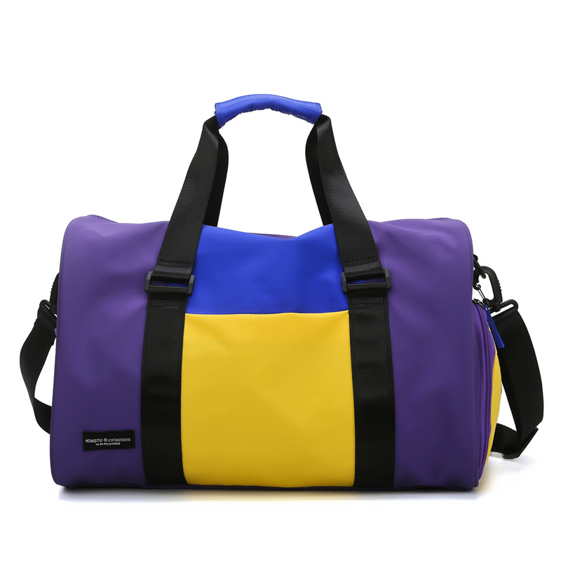 Color Matching Sports Fitness Bag Female Shoulder Portable Travel Luggage Bag Wet And Dry Separation Yoga Swimming Training Bag