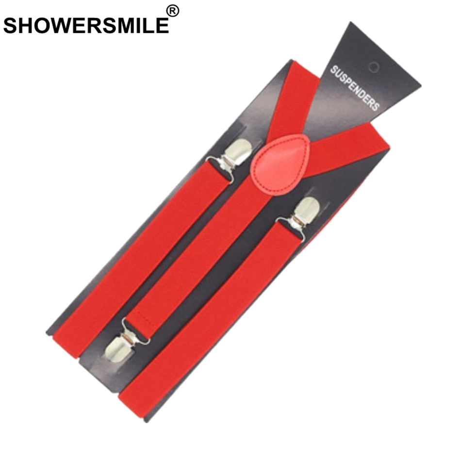SHOWERSMILE Adult Suspenders Strap Mens Belt For Trouser Solid Red Blue Purple Clips Dress Wedding Suspenders For Men Tirantes