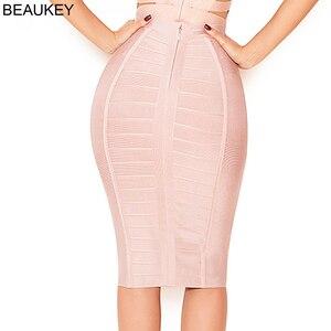 Image 2 - BEAUKEY Fashion Sexy Pencil Bandage Skirt High Waist Horizontal Stripes Skirt  XL Nude Black White Party Bodycon Plus Skirt