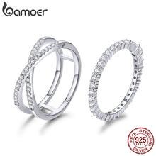 BAMOER 2pcs Authentic 925 Sterling Silver Dazzling CZ Geometrica Anelli di Barretta per le Donne di Nozze di Fidanzamento Gioielli anel SCR463
