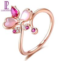 LP K Gold Jewelry Butterfly Ring For Best Friend Ring 18K Rose Gold Ruby Diamond Pink Shell Rings Fashion Style For Women Gift
