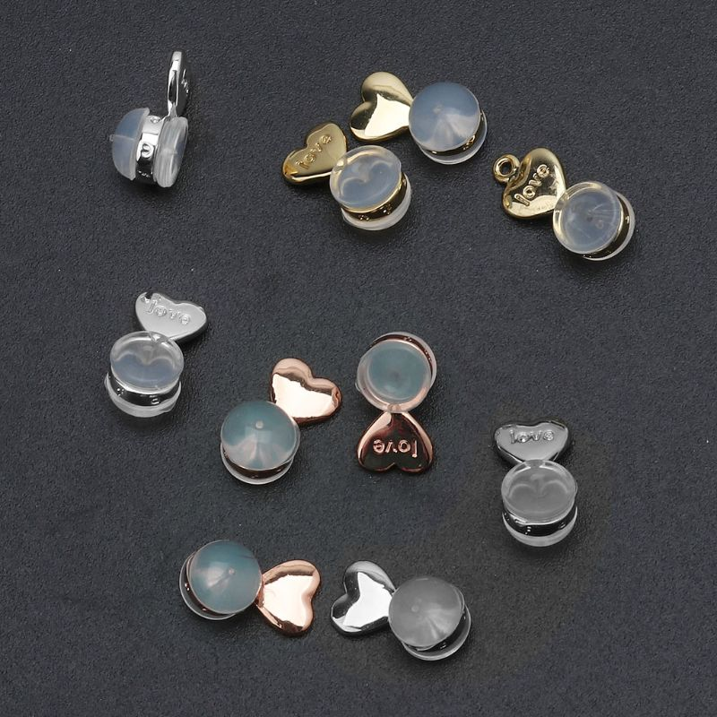 10Pcs Heart Love Magic Earring Lifters Earring Lifts Backs Adjustable Hypoallergenic Earring Nuts Ear Lobe Support