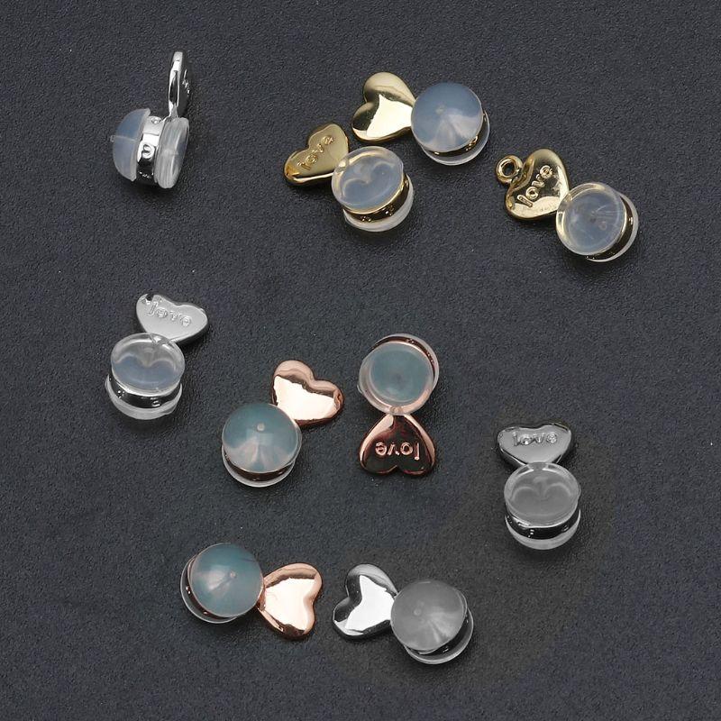 10 шт., волшебные сережки с сердечками, подъемные серьги, регулируемые гипоаллергенные серьги, гайки для ушей