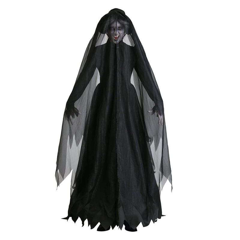 Con cappuccio mantello con Pizzo-Nero-Rosso-nobile vampiro mantello da donna